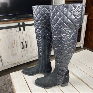 Manolo Blahnik Morrow Quilted Over The Knee Boots